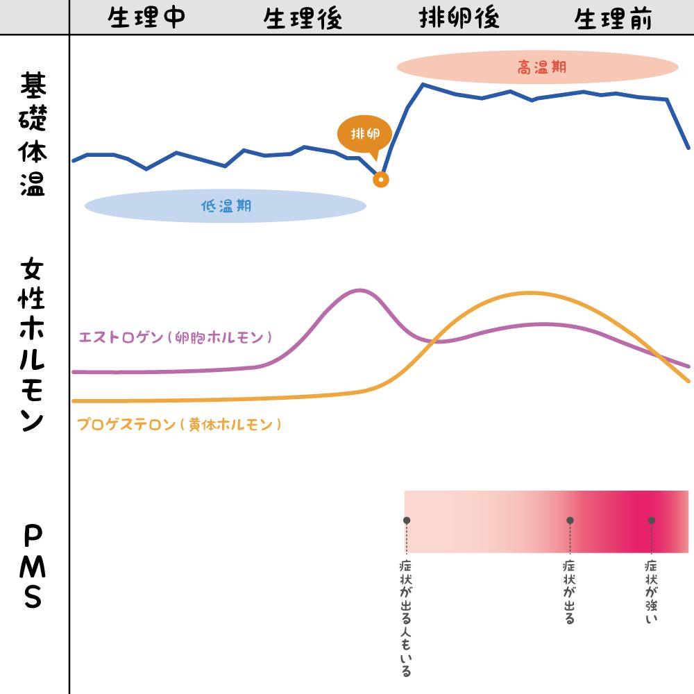 ホルモン・基礎体温・PMSの関係のグラフ